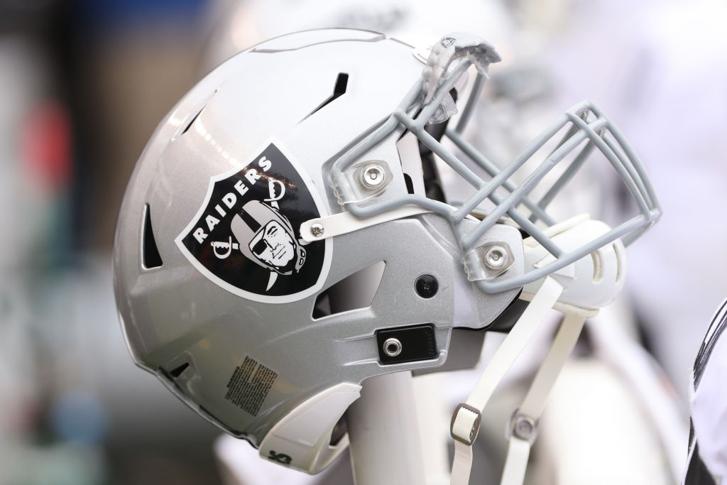 Oakland Raiders helmet sits during the game