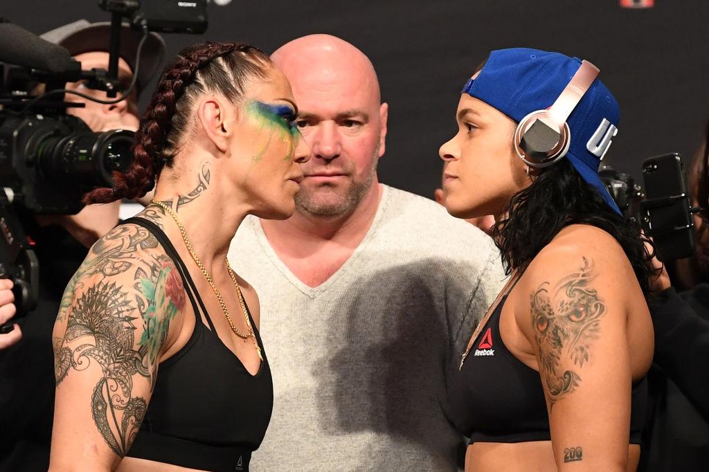 Cris Cyborg and Amanda Nunes facing off before their UFC 232 fight