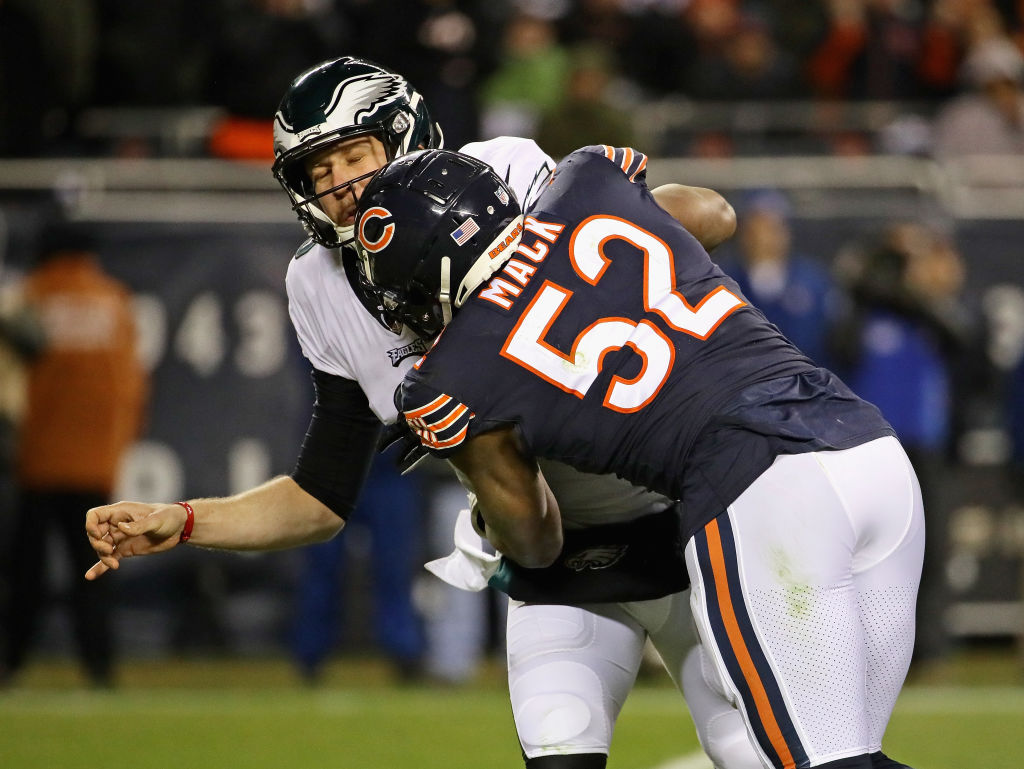 Khalil Mack #52 of the Chicago Bears hits Nick Foles