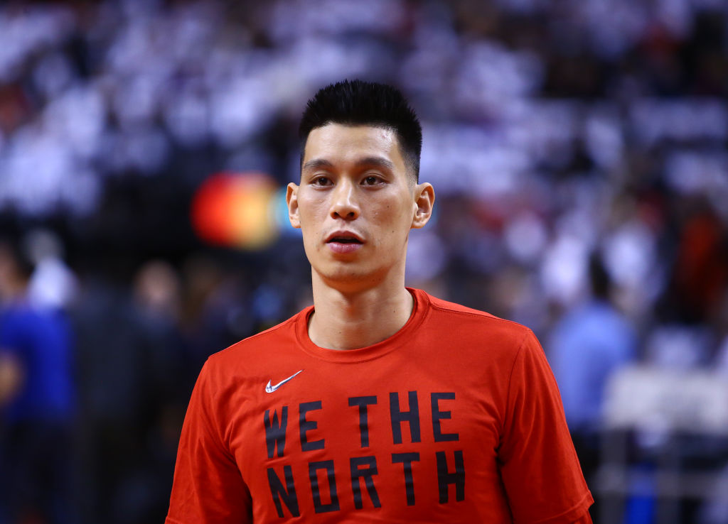 Jeremy Lin #17 of the Toronto Raptors looks on during warm up