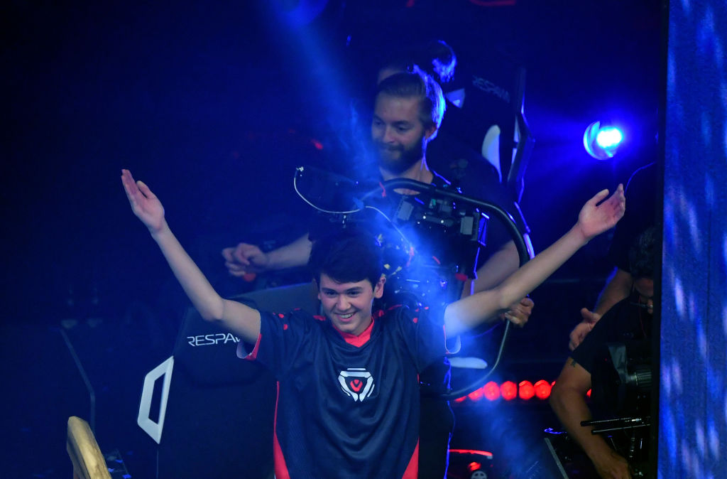 Bugha celebrates after winning the final of the Solo competition