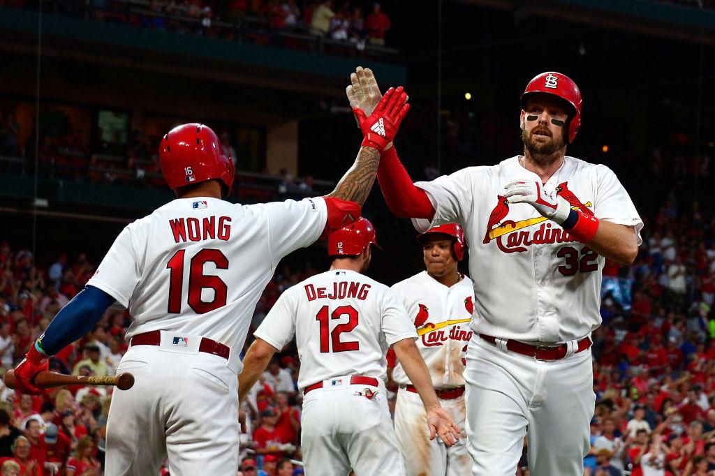 Matt Wieters and the Cardinals celebrate after a three-run home run
