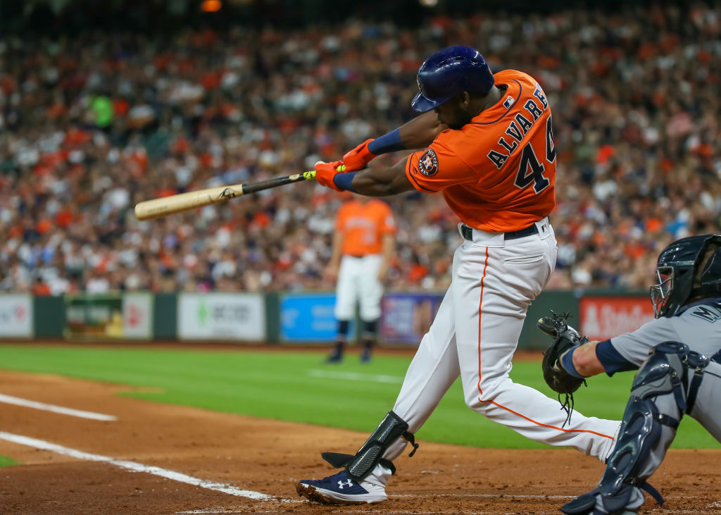 Houston Astros designated hitter Yordan Alvarez (44) hits a home run