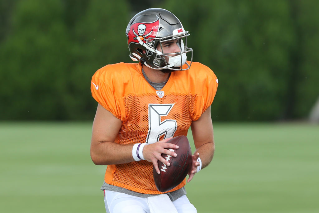 Vincent Testaverde (6) goes thru a drill during the Tampa Bay Buccaneers