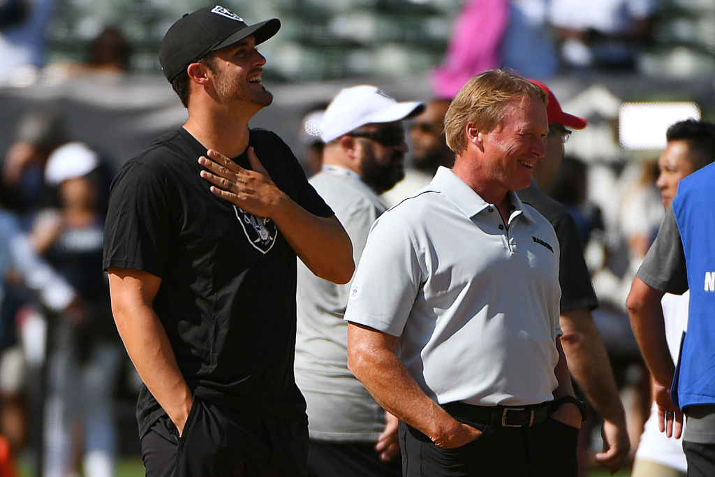 Derek Carr #4 of the Oakland Raiders and head coach Jon Gruden