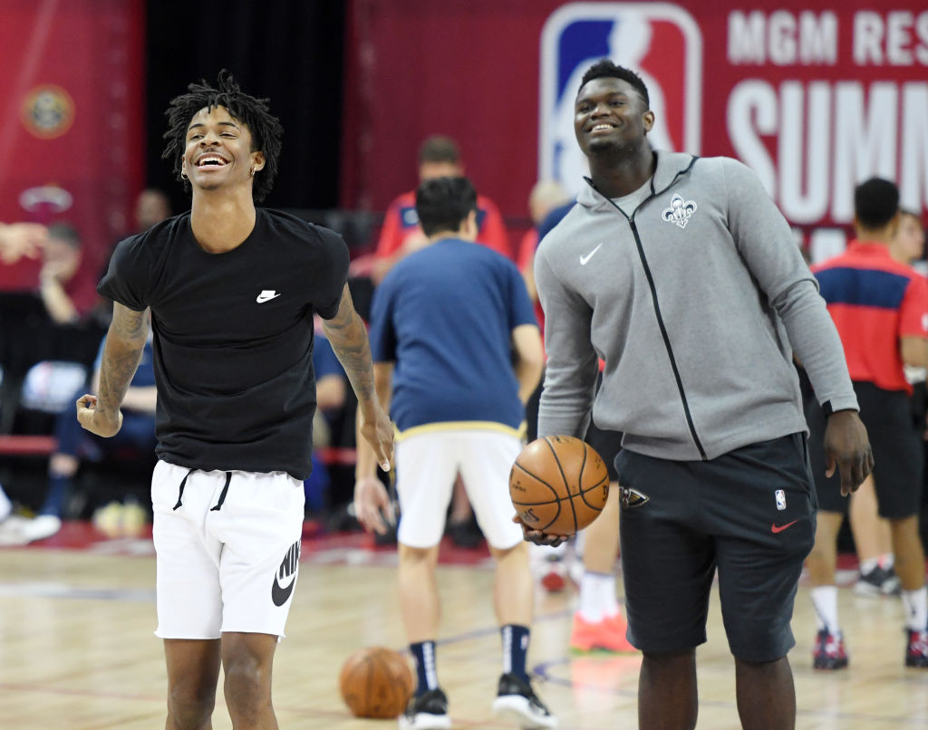 Ja Morant and Zion Williamson warm up in the Summer League