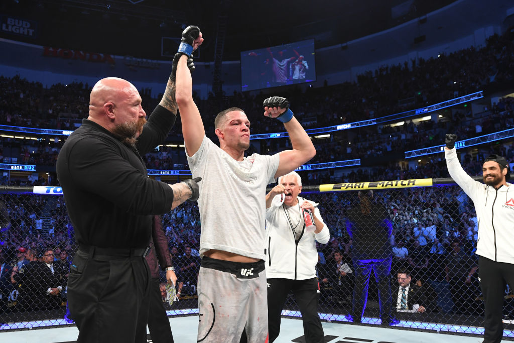 Nate Diaz celebrates his victory over Anthony Pettis