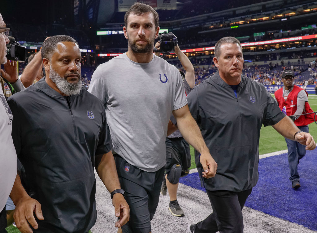 Andrew Luck #12 of the Indianapolis Colts walks off