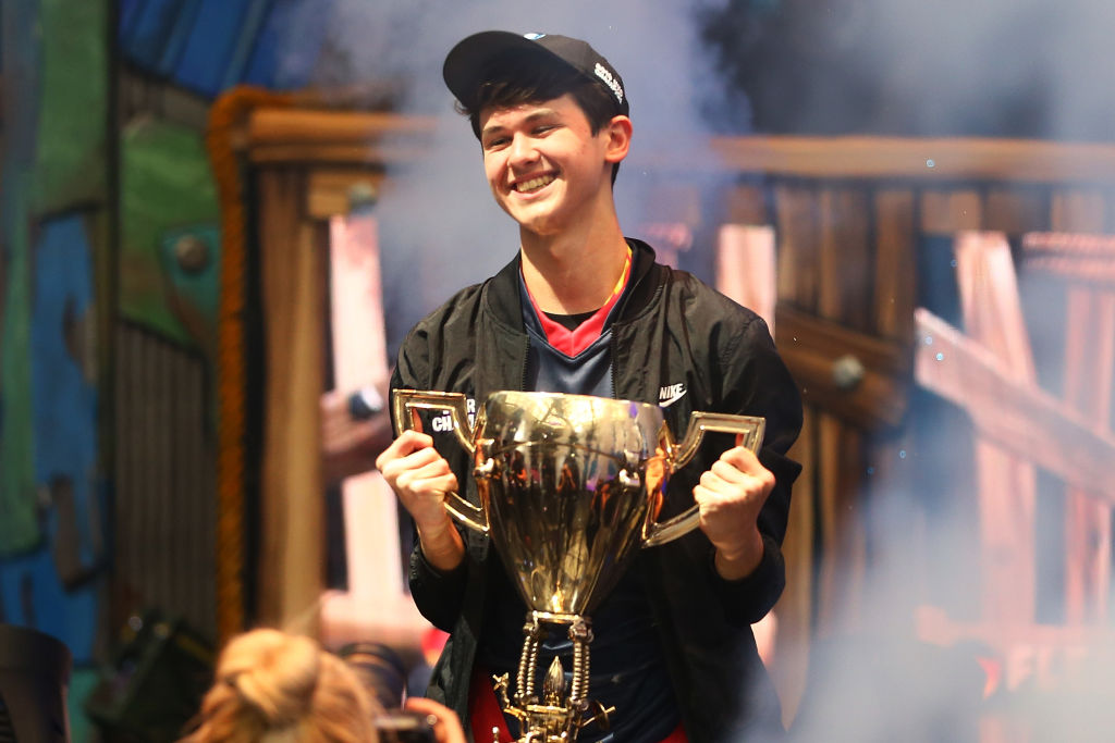 "Kyle ""Bugha"" Giersdorf celebrates after winning the Fortnite World Cup"