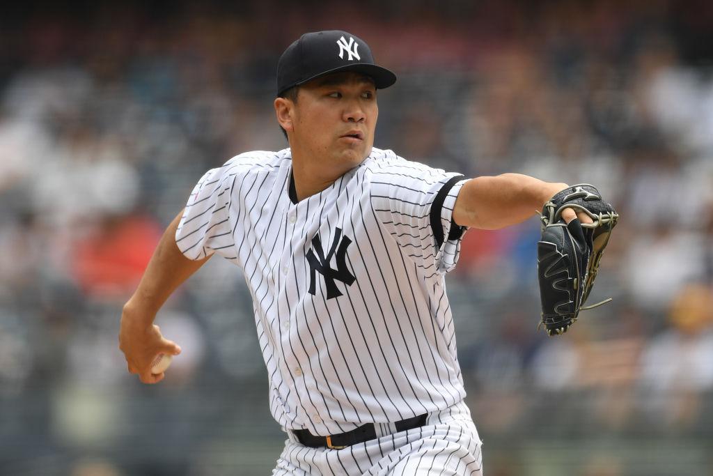 Masahiro Tanaka #19 of the New York Yankees pitches