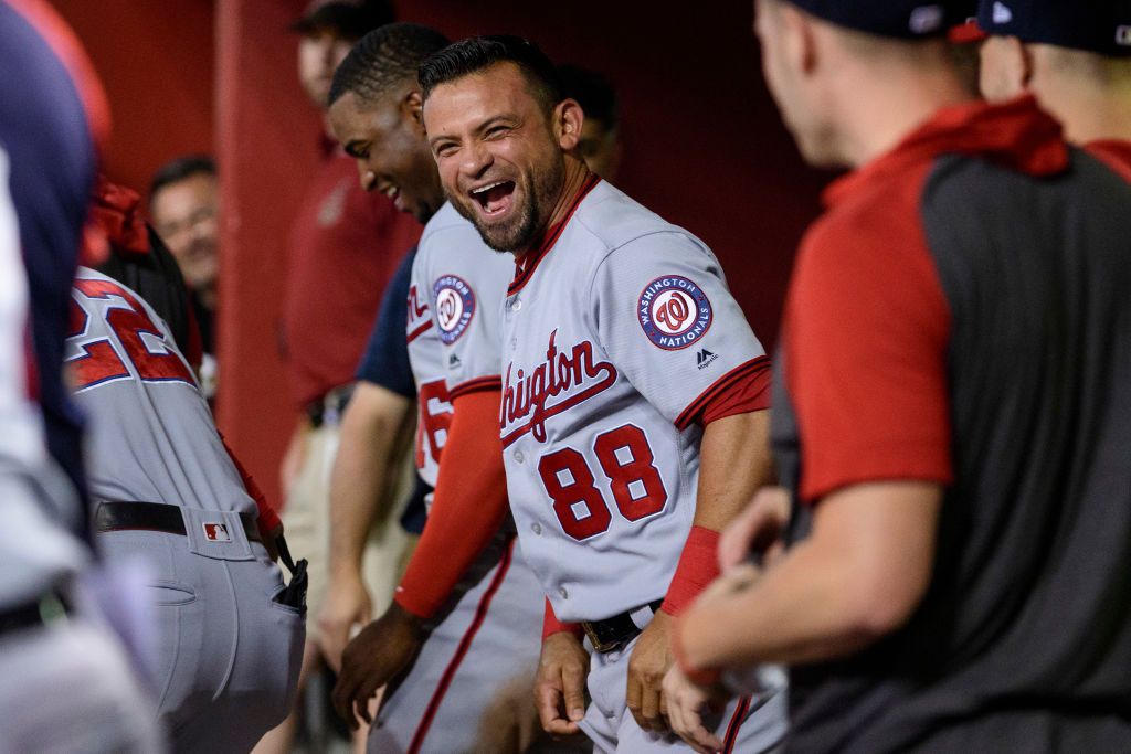 Gerardo Parra #88 of the Washington Nationals celebrates