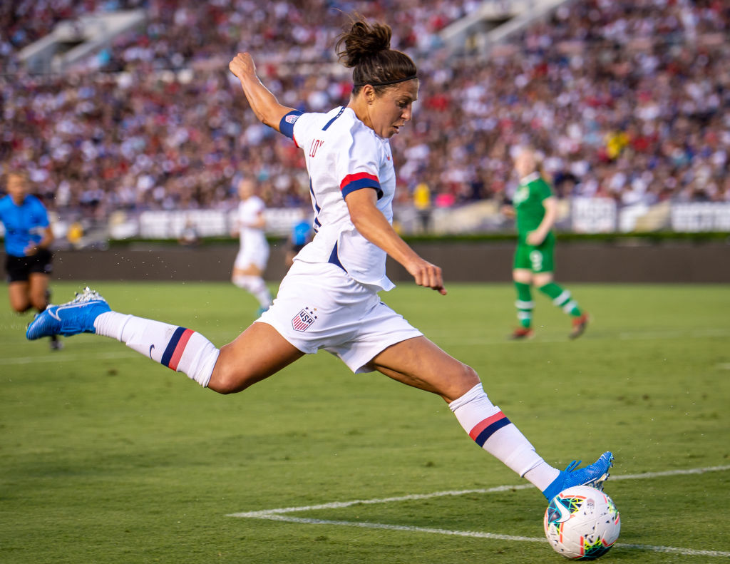Carli Lloyd #10 of the United States takes a shot