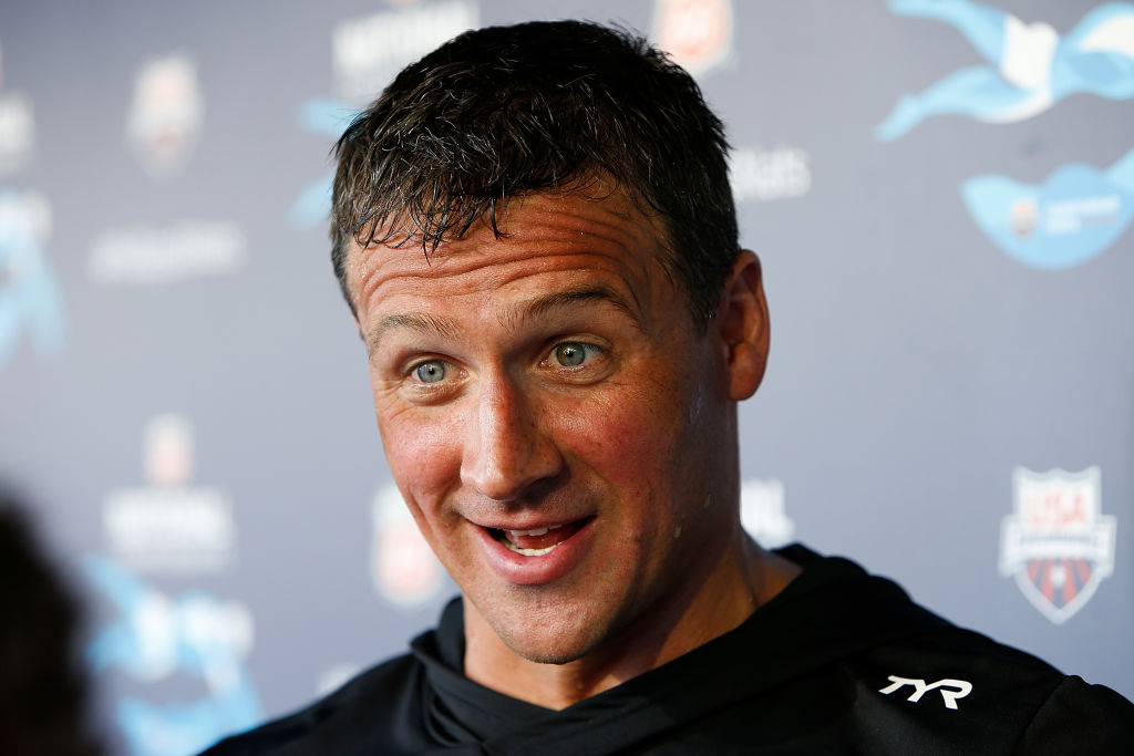 Ryan Lochte speaks to the media after winning the Men's 200m Individual Medley