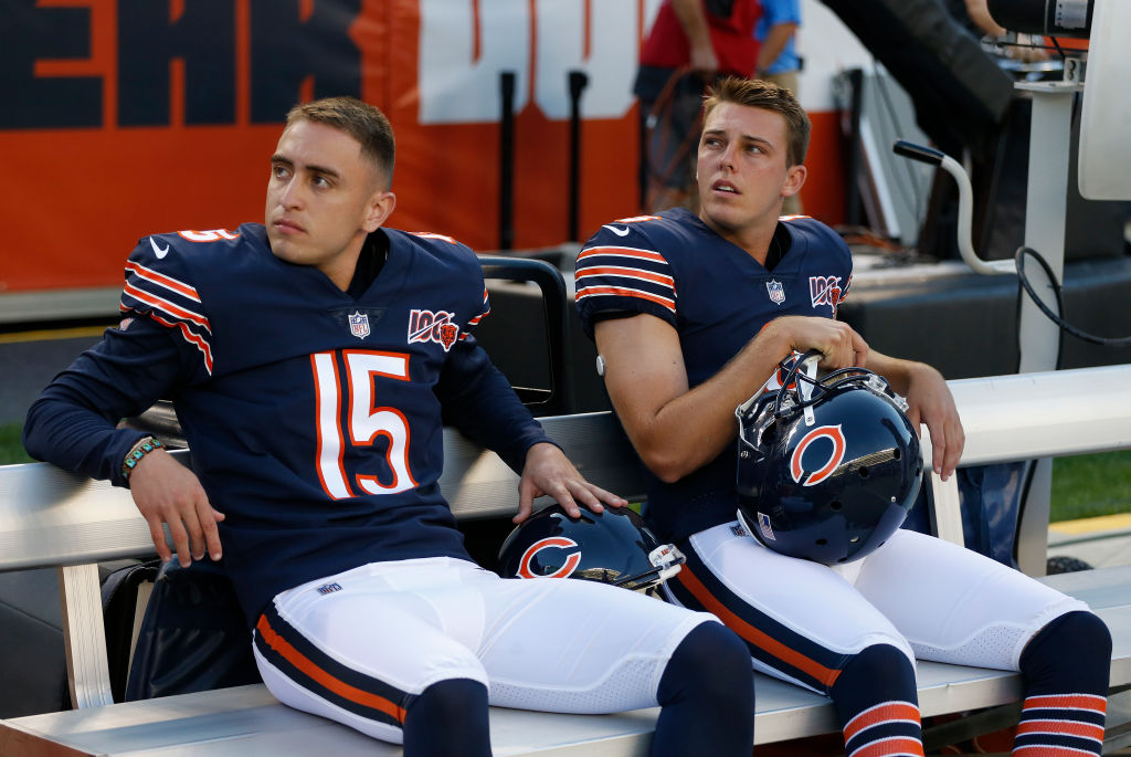 Eddy Pineiro (left) edged out Elliott Fry as Chicago's last remaining kicker