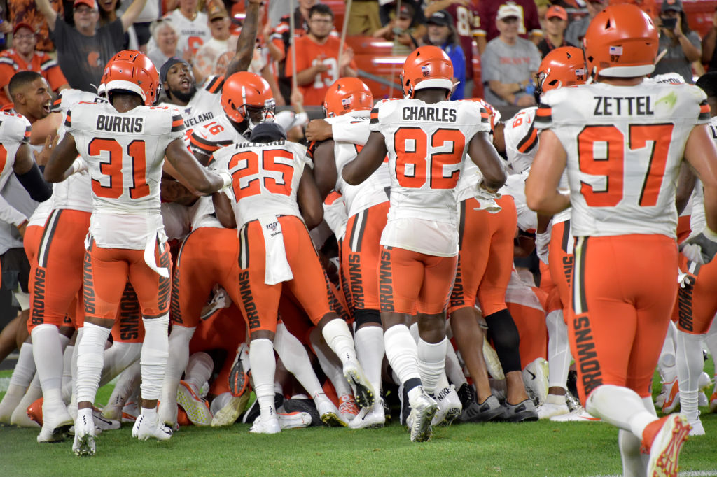 The Cleveland Browns piled on top of Damon Sheehy-Guiseppi after his big play