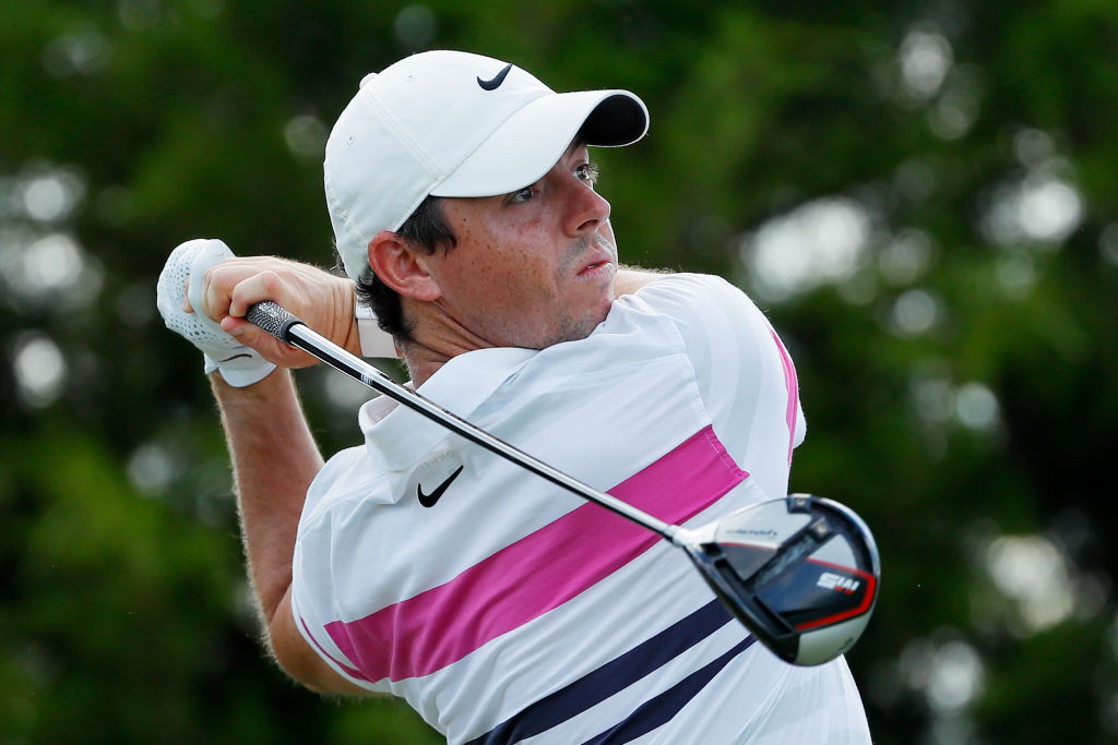Rory McIlroy takes his shot... in a timely manner