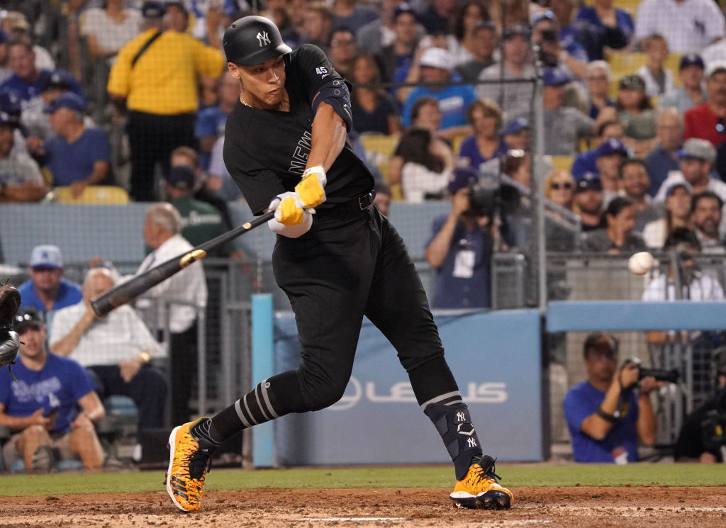 Aaron Judge hitting one of his three home runs against the Los Angeles Dodgers