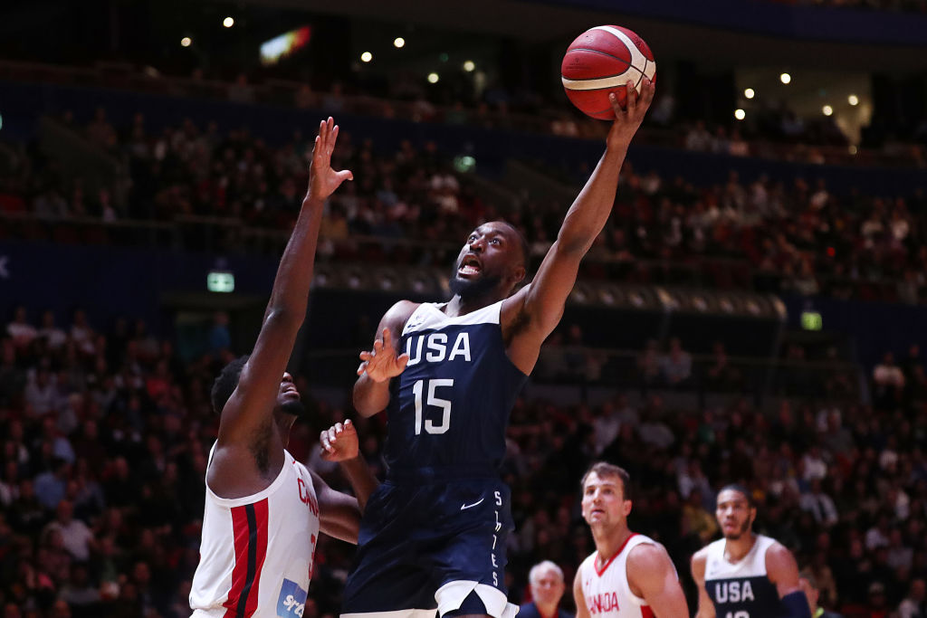 Kemba Walker of the USA lays up a shot