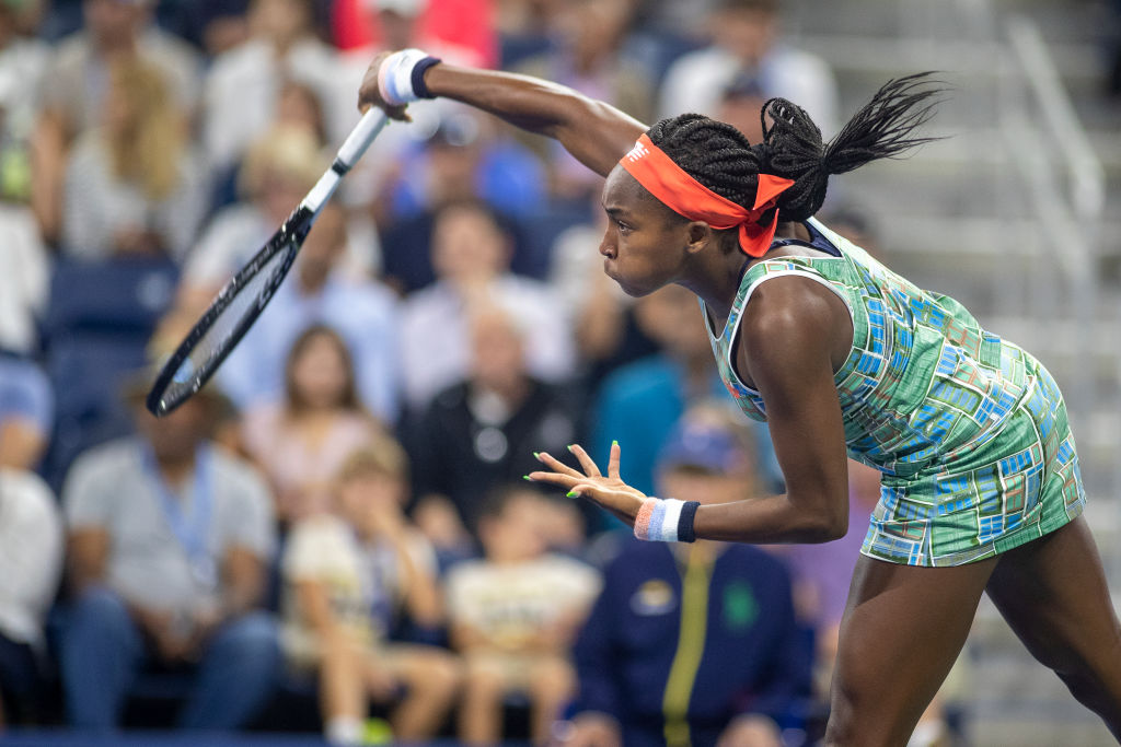 Coco Gauff in action at the US Open