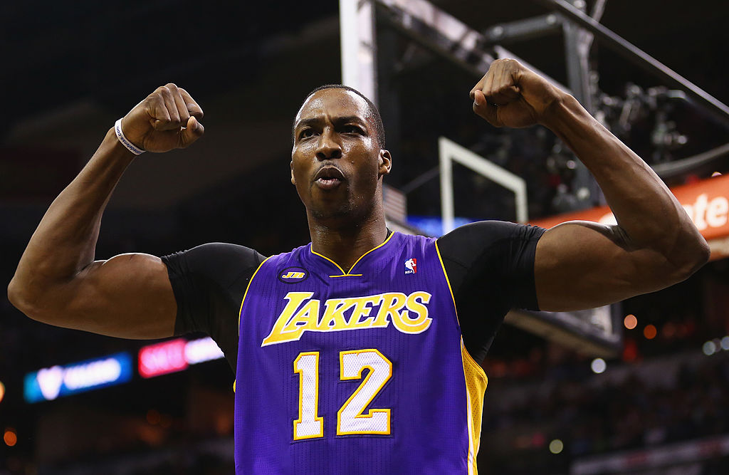 Dwight Howard #12 of the Los Angeles Lakers reacts after being fouled