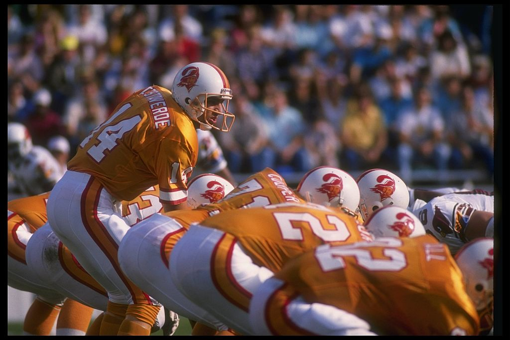 Quarterback Vinny Testaverde under center for the Tampa Bay Buccaneers