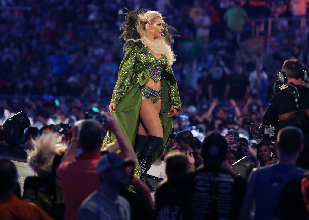 Charlotte Flair walks to the ring during WrestleMania 33