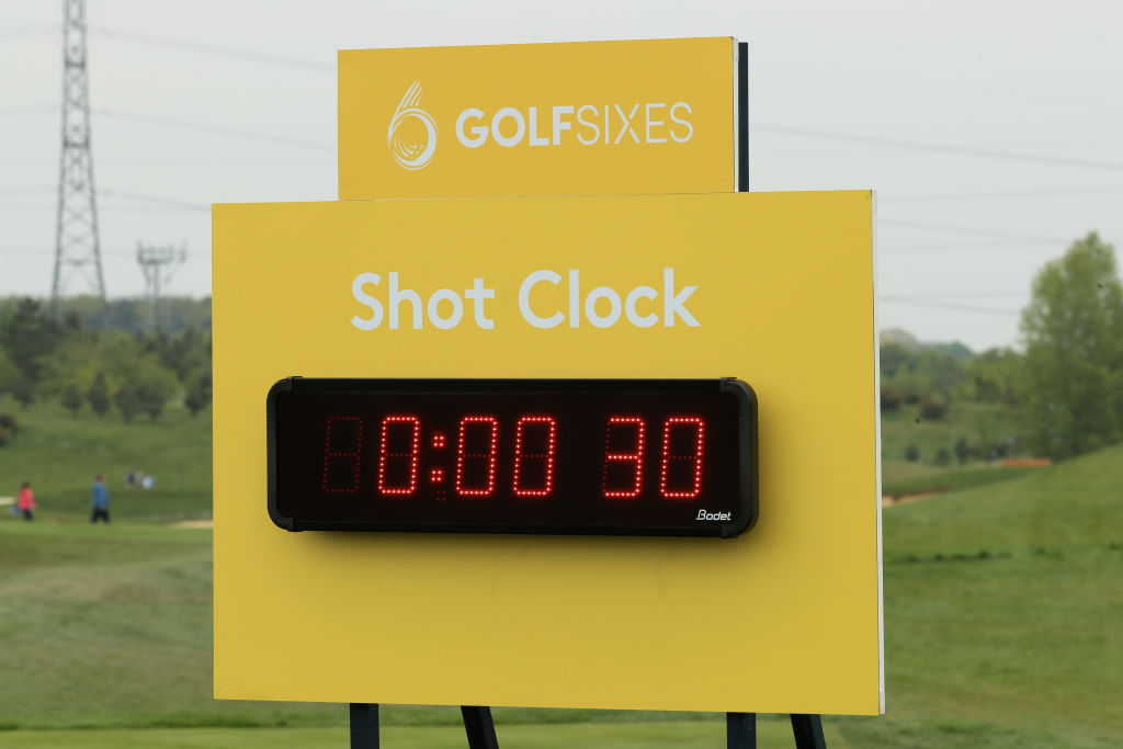 General View of the shot clock on the 4th hole during day one