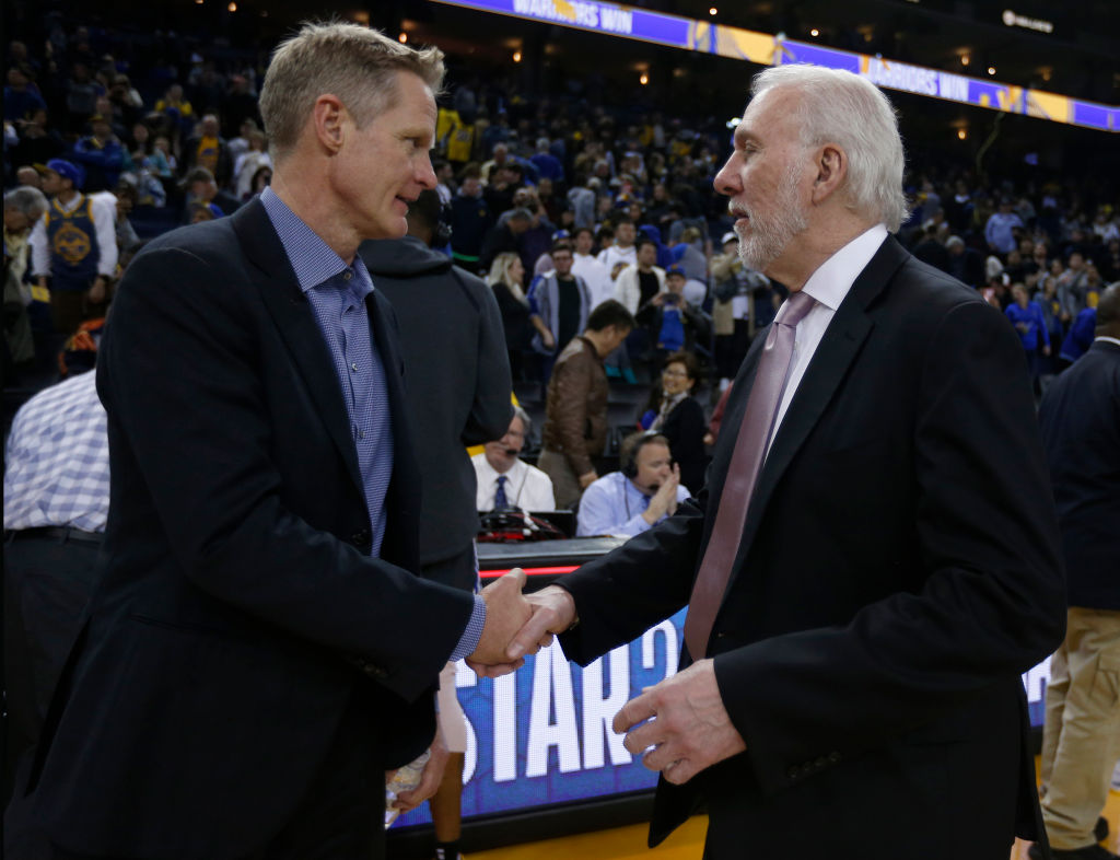 Warriors coach Steve Kerr doesn't hold back his praise for Gregg Popovich and the Spurs.