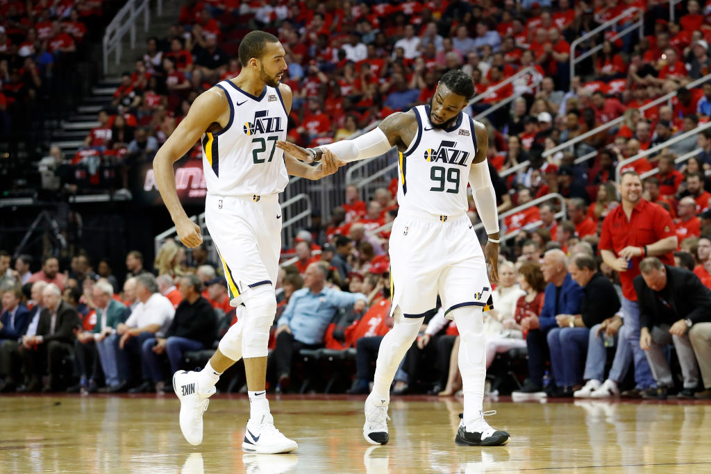 Rudy Gobert (left) anchors the defense, but the Jazz might regress on that end of the floor.