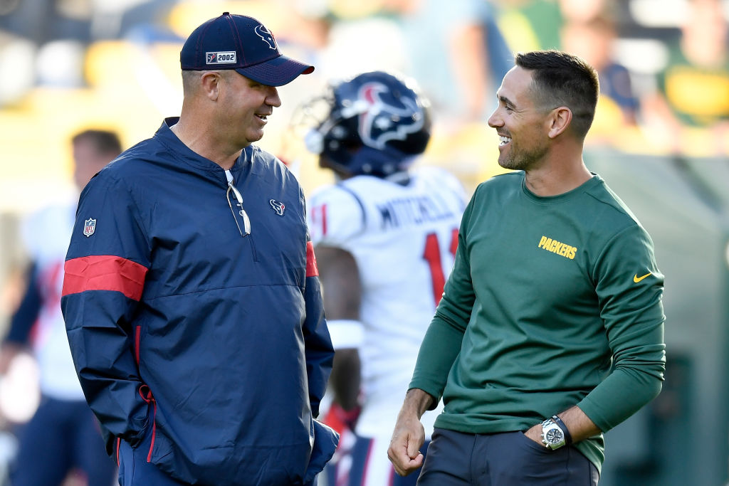 The Packers Matt LaFleur (right) and the Texans Bill O'Brien are NFL coaches who could win their first Super Bowl in 2020.