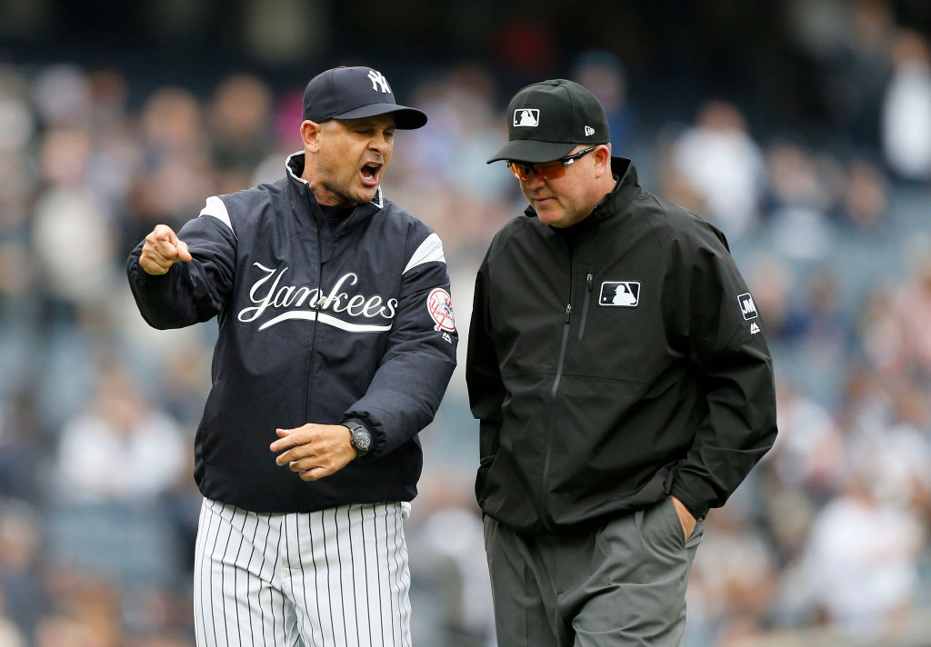 "Seems like Yankees manager Aaron Boone can't wait for ""robot umpires"" to make their way to MLB."