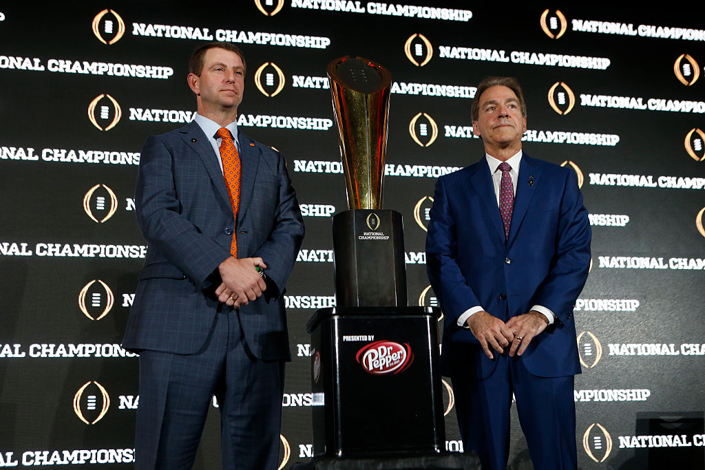 Alabama football coach Nick Saban (right) and his Crimson Tide players still can't give credit to Dabo Swinney and Clemson for beating them in the 2019 championship game.