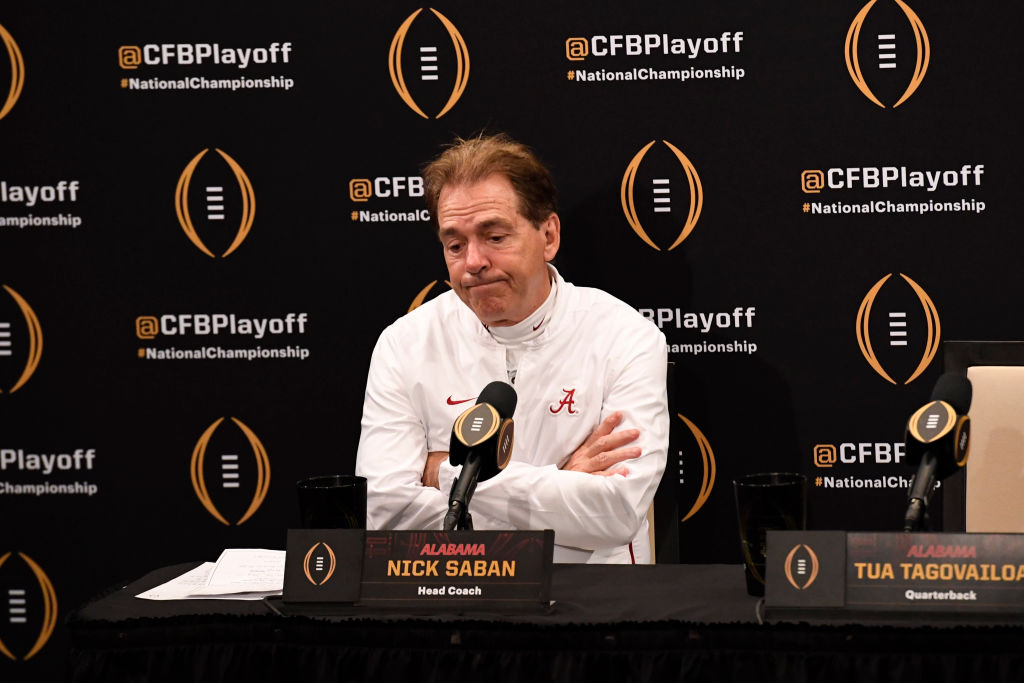 Alabama football coach Nick Saban (right) and his Crimson Tide players still can't give credit to Clemson for beating them in the 2019 championship game.