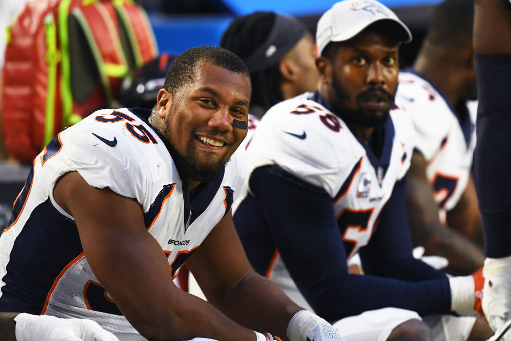 Bradley Chubb (left) has an admirer in Broncos veteran linebacker Von Miller (background).