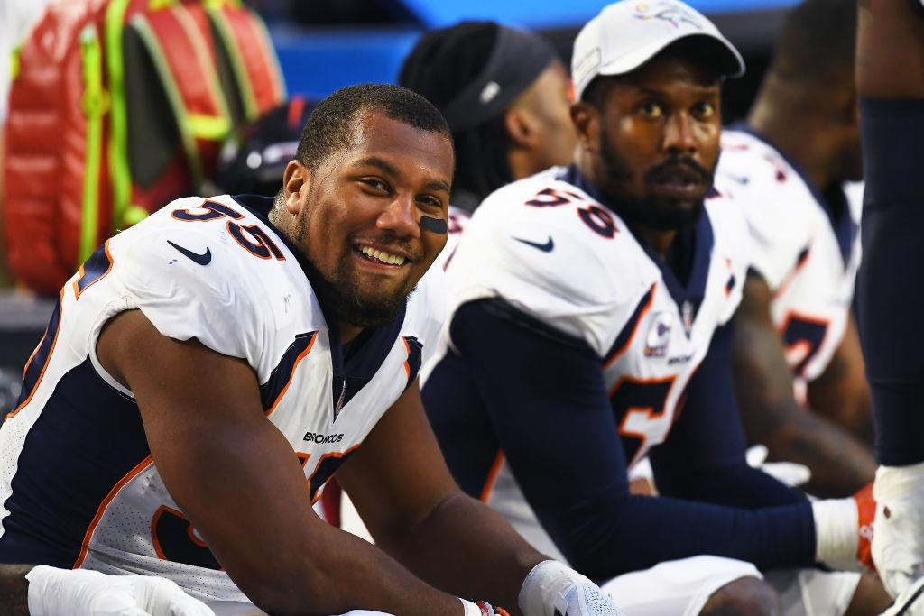 Bradley Chubb (left) has an admirer in Broncos veteran linebacker Von Miller (background).