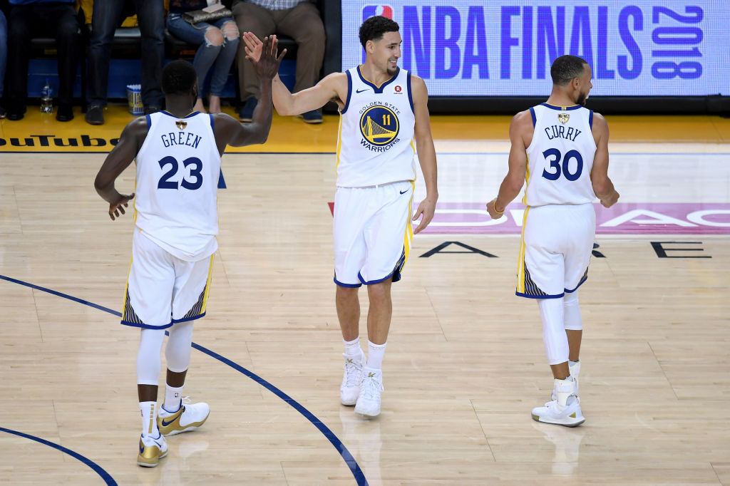 Draymond Green (from left), Klay Thompson, and Steph Curry will be part of the Warriors lineup as long as they are under contract.