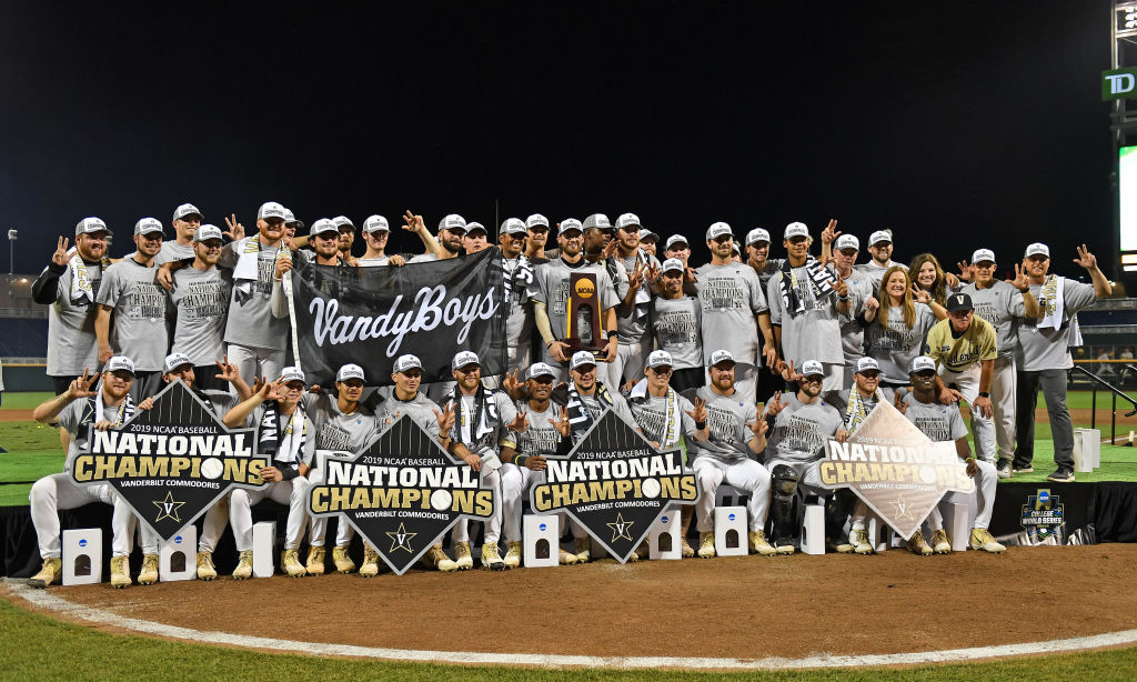 Vanderbilt Commodores players and coaches after winning the 2019 College World Series