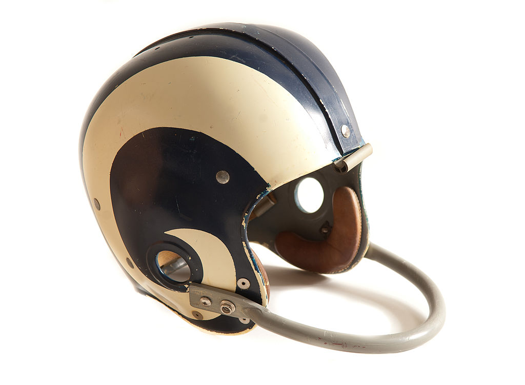 Vintage Los Angeles Rams football helmet with single cross bar facemask
