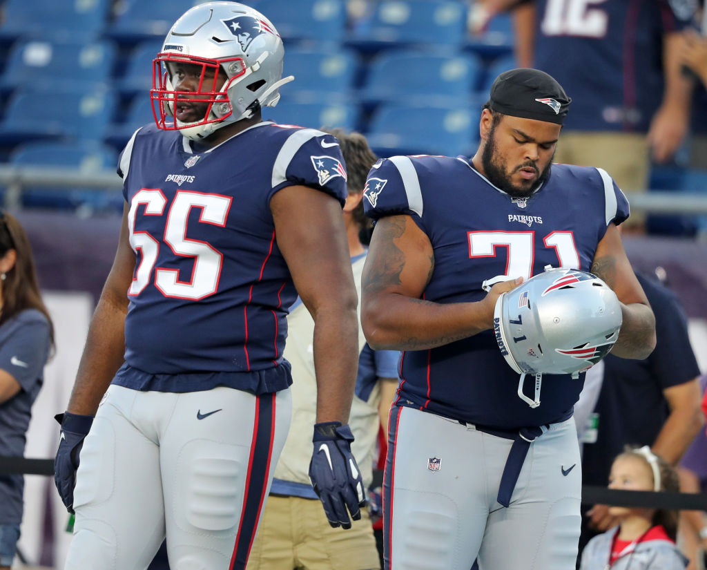 The Patriots traded for offensive linemen Korey Cunningham (left) and Jermaine Eluemunor just before the 2019 season started in order to bolster their Super Bowl chances.