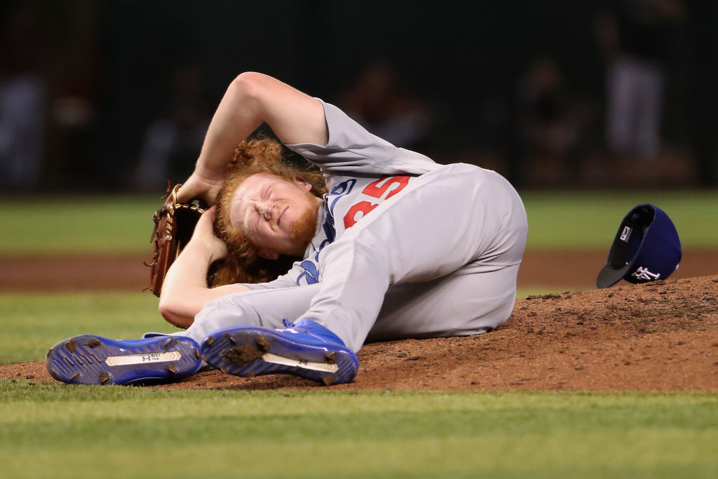 The Dodgers Dustin May is one of several MLB pitchers who were struck by line drives in recent years. May was hit in the head in 2019.