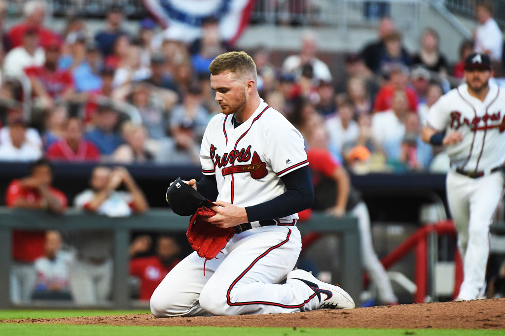 The Braves Sean Newcomb is one of several MLB pitchers who were struck by line drives in recent years. Newcomb was hit in the head in July 2019.