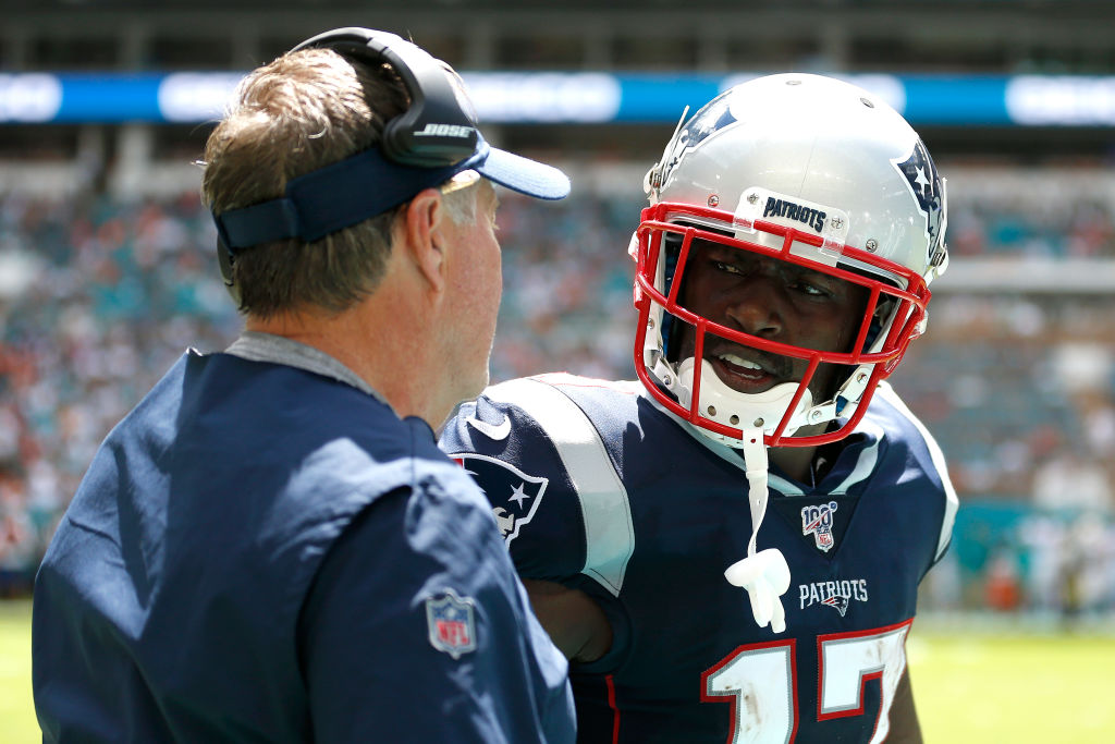 Antonio Brown talks to Bill Belichick before being cut by the New England Patriots.