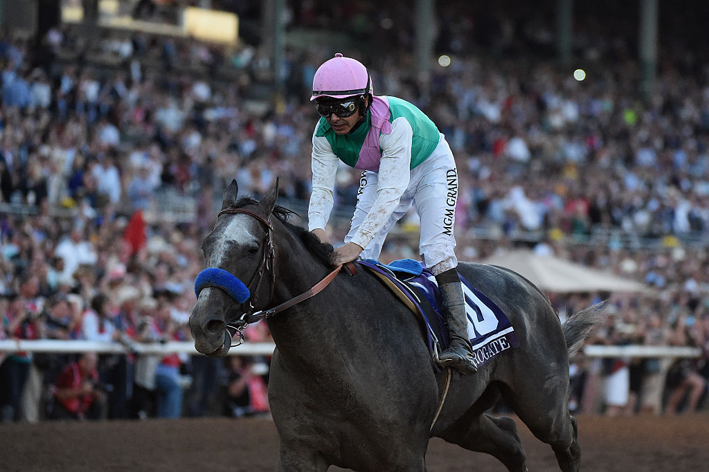 Arrogate ridden by jockey Mike Smith after winning the Breeders' Cup Classic in 2016