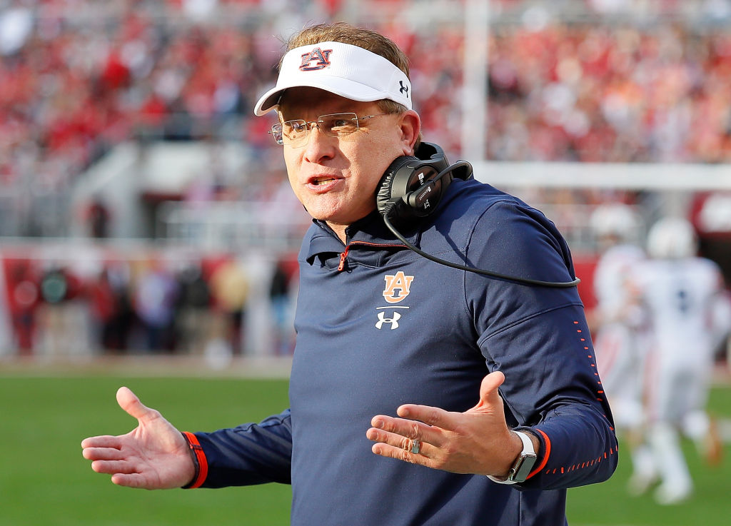 Auburn coach Gus Malzahn took a verbal jab at in-state rival Alabama.
