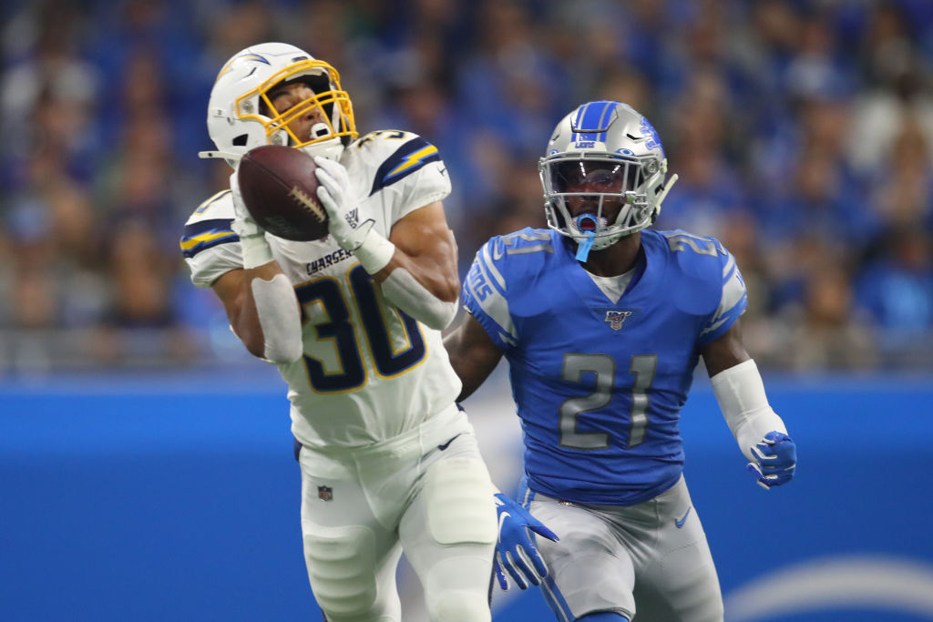 Austin Ekeler hauls in a pass from Philip Rivers