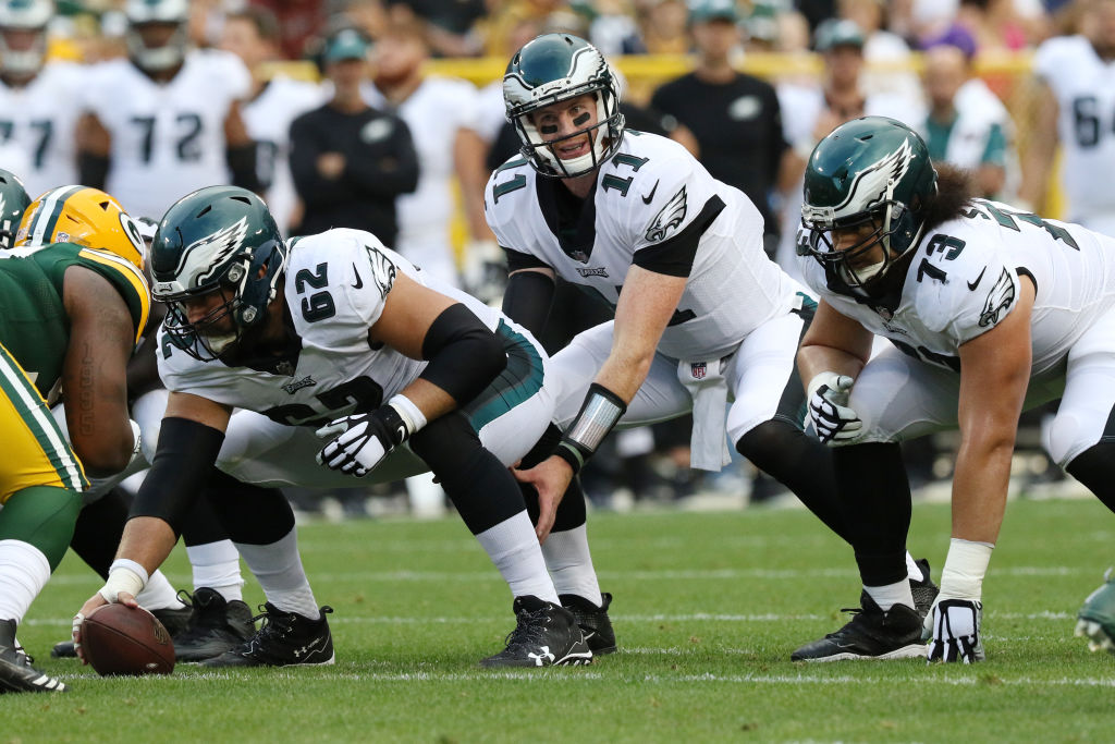 Carson Wentz lining up against the Green Bay Packers