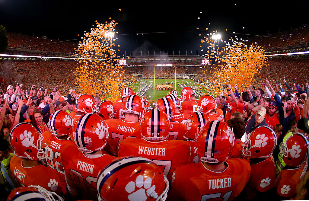 The Clemson Tigers football team prepares to take the field.