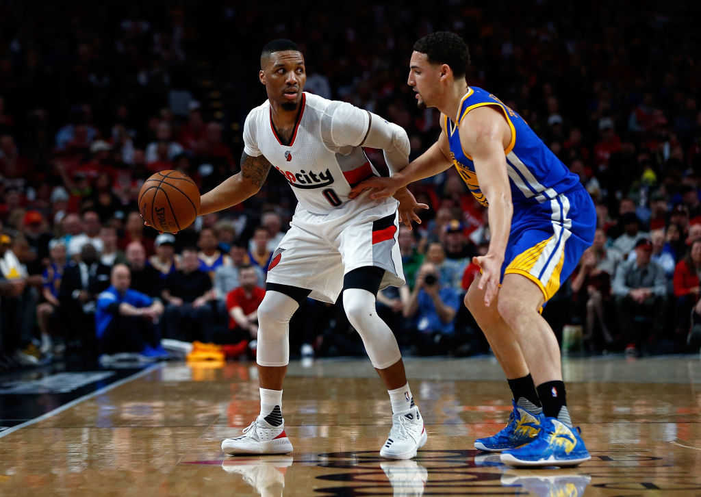 Trail Blazers Damian Lillard and Warriors Klay Thompson
