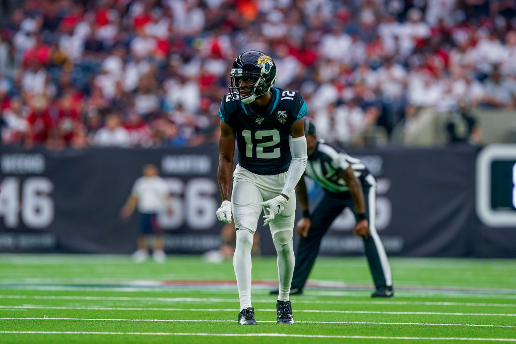 Dede Westbrook of the Jaguars lining up before a play.