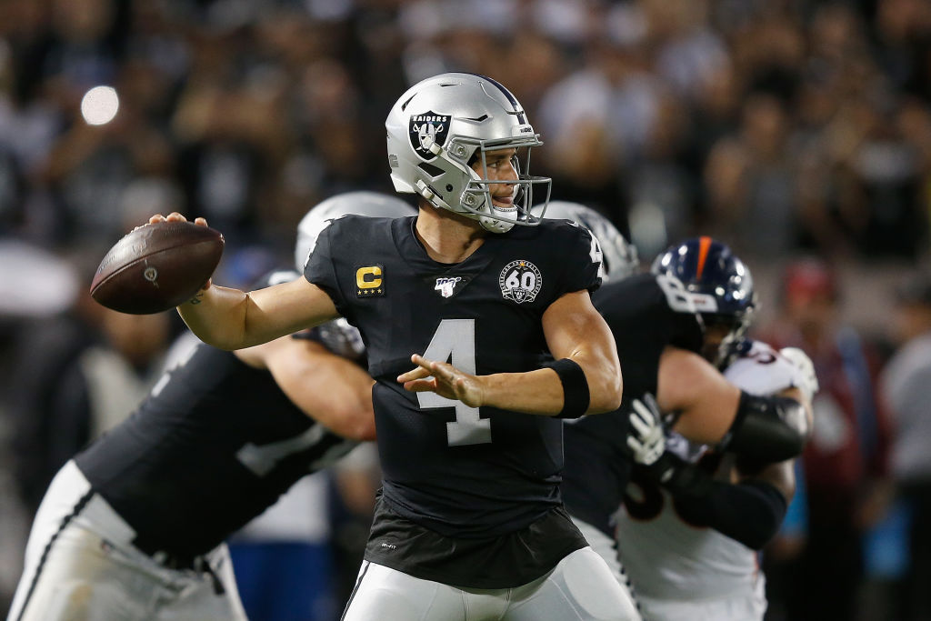 He never used it, but Raiders quarterback Derek Carr (above) received some advice about playing with superstar wide receivers like Antonio Brown.